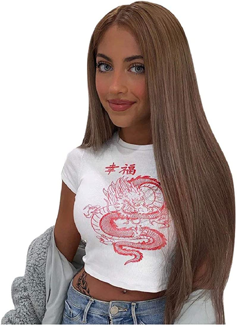DEELIN Camiseta de Manga Corta para Mujer Chino Personaje Drag/ón impresi/ón Casual Tanque Camiseta Streetwear Se/ñoras O-Cuello Blusa Top