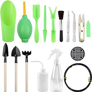 Mhonniwa Succulent Tools Set 17 Pieces Mini Garden Hand Tools for Garden Plant Care, Green