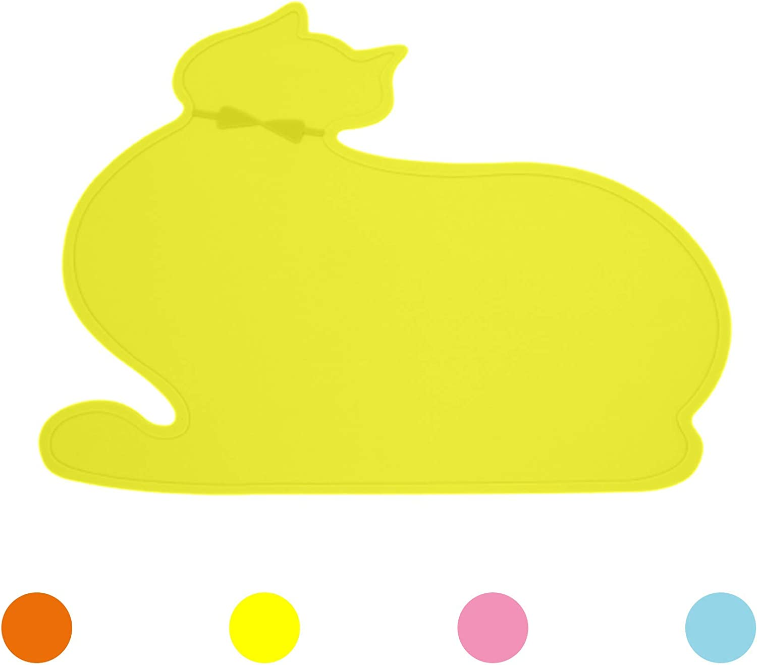 Ptlom Cat Placemat, Pet Food and Water Mat, Suitable for Large, Medium and Small Cats, Prevent Water and Food from Spilling, Silicone