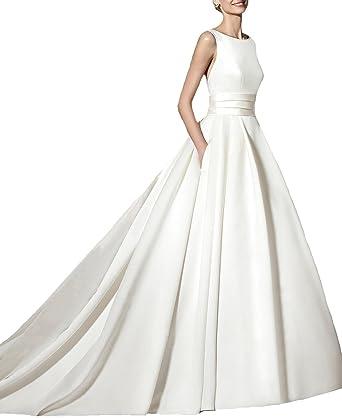 BONBETE Simple Elegant A Line Satin Bridal Gown Wedding Dresses 2017 ...