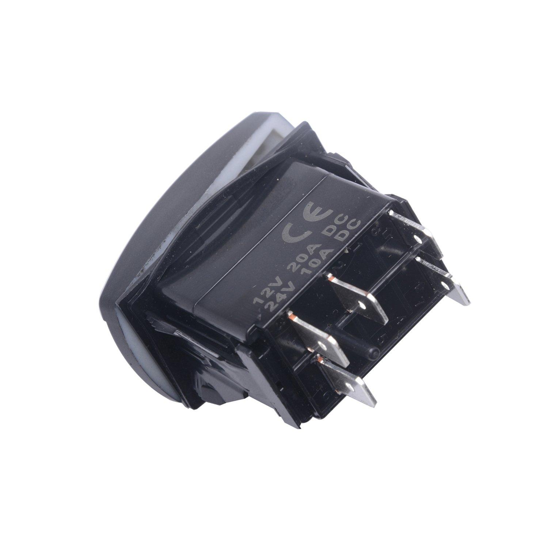 QUNQI STAR 5 pin Laser Backlit Rocker Switch WHIP LIGHTS 20A 12V On//off LED Light Toggle Switch Green
