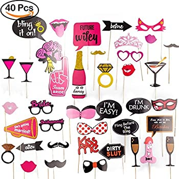 R • HORSE Bachelorette Party Photo Booth Props Kit for Girls Night Out Games Dress Up Accessories for Wedding (40 Count)