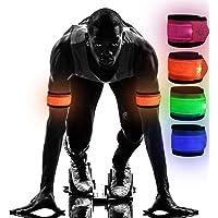 Yukio SportPlus-LED Armband Leuchtarmbänder Nacht Leuchtband Sicherheits Licht für Laufen Joggen Outdoor Sports, Batteriebetrieb/USB Laden