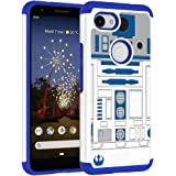 Sunshine - Tech Google Pixel 3a Case - R2D2 Droid Robot Pattern Shock-Absorption Hard PC and Inner Silicone Hybrid Dual Layer