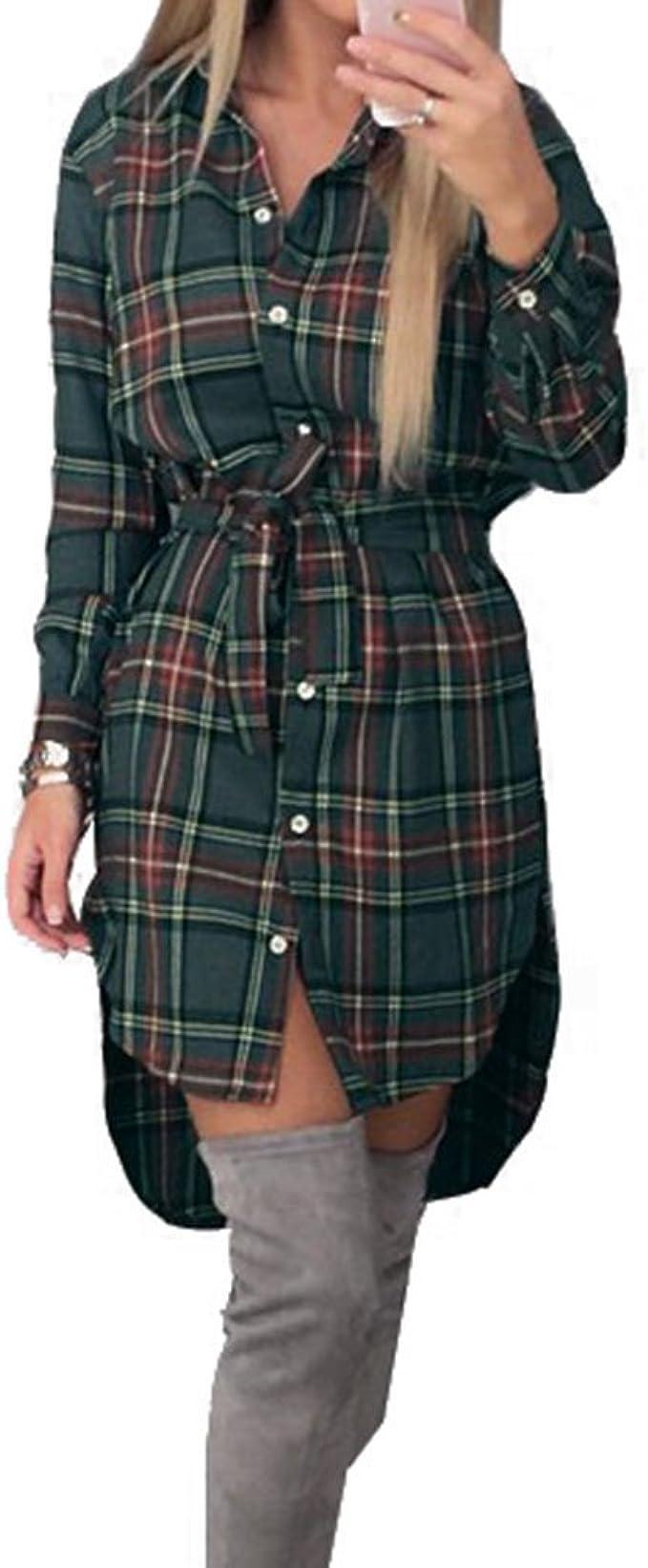 Mujer Vestir Irregular Dobladillo Camisa - Tartán Vestir Señoras Largo Manga Blusa Sobredimensionado Tops Comprobado Camisa Mini Vestir Moda Sayo ...
