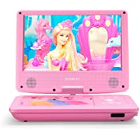 """ZESTYI 11"""" Portable DVD Player for Kids with 9"""" Swivel Screen, Car Headrest Mount Holder, Rechargeable Battery, Wall Charger, Car Charger, SD Card Slot, USB Port (Pink)"""