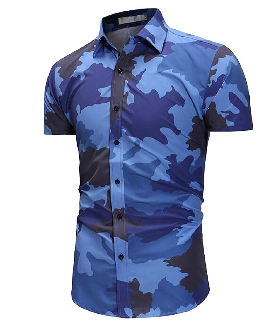 Cromoncent Mens Camo Button Down Easy-Care Slim Short Sleeve Shirt