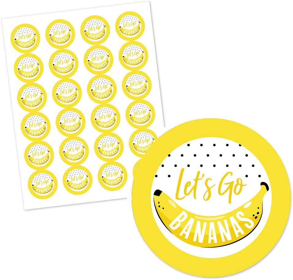 Tropical Party Circle Sticker Labels 24 Count Big Dot of Happiness Let/'s Go Bananas