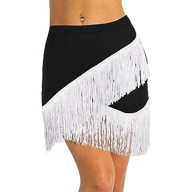 ranrann Falda de Baile Latino Flecos para Mujer Irregular Falda de ...