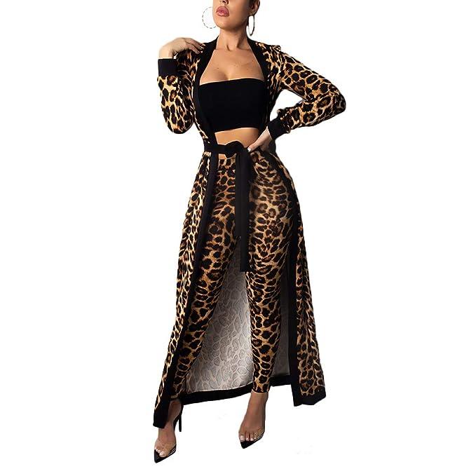 Amazon.com: Mujer Sexy Leopardo Estampado 3 piezas Trajes ...