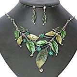 Seven And Eight S&E Women's Exaggerative Vintage Leafs Shape Joint Chain Collar Pendant Necklace Sets