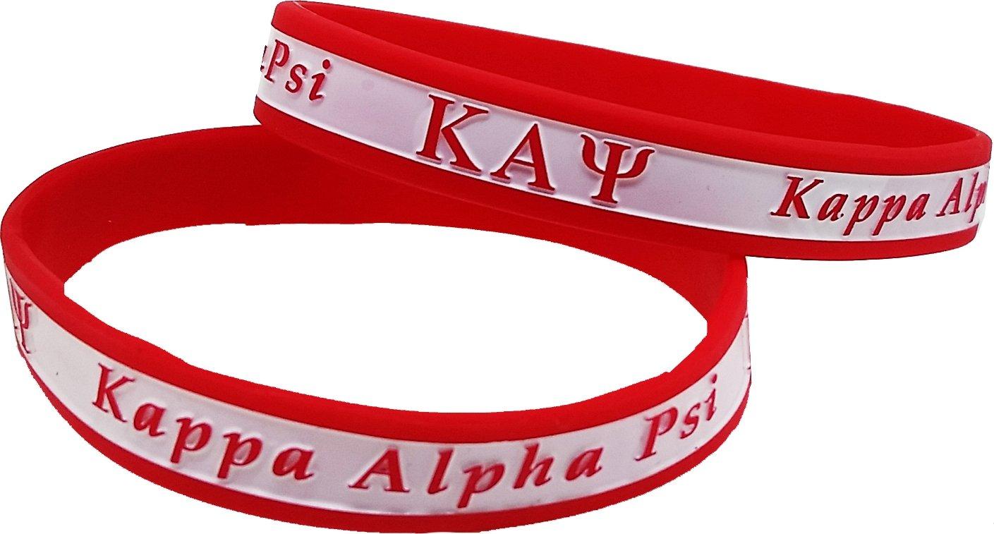 Cultural Exchange Kappa Alpha Psi 2トーンカラーシリコンブレスレット[ Pack of 2 – レッド/ホワイト – 8