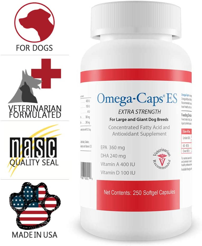 Omega-Caps ES for Large Giant Dogs – Omega 3, Vitamins, Minerals, Antioxidants – Support Immune System, Joints, Heart, and Brain – 250 Softgel Capsules