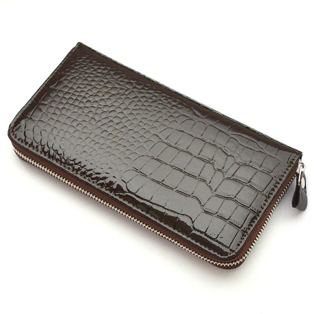 至福の手触り感!牛革 長財布 [otokosaifu] 銀革 クロコ型押し 財布 メンズ レディース プレゼント 3602031 (ブラウン) B0749MN52J ブラウン