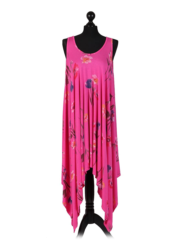 New Ladies Italian Floral Sleeveless Summer Dress Women Lagenlook Dress  Plus Siz (Cerise): Amazon.co.uk: Clothing