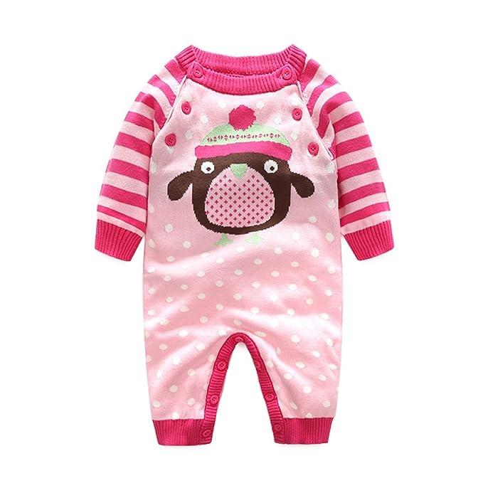 Mameluco Bebé niño niña de manga larga Invierno Traje Monos Cartoon Animal Pijamas Ropa Altura 90cm