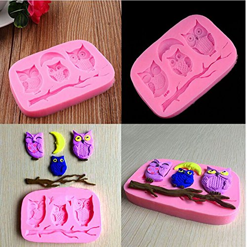 Silicone 3D Owl Fondant Mould Cake Decor DIY Candy Baking Chocolate Soap (Candy Letters For Cakes)
