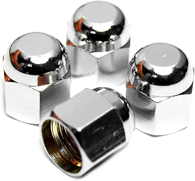 Preskin Ventilkappen 4 X Hexadome Auto Ventilkappe Aus Messing Chrom Ventildeckel Für Reifenventile Auto