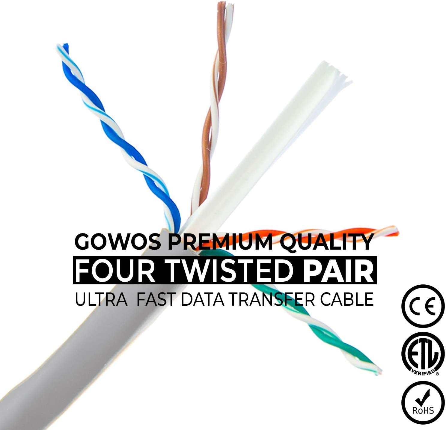 RJ45 10Gbps High Speed LAN Internet Patch Cord Cat5e Ethernet Cable UTP Available in 28 Lengths and 10 Colors Computer Network Cable with Snagless Connector GOWOS 10-Pack 5 Feet - Black