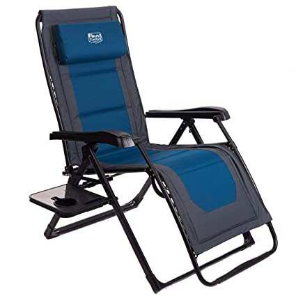 Enjoyable Timber Ridge Zero Gravity Locking Lounge Chair Oversize Xl Adjustable Recliner With Headrest For Outdoor Beach Patio Pool Support 350Lbs Blue Padded Machost Co Dining Chair Design Ideas Machostcouk