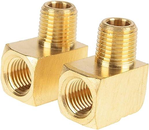 Conector de tuber/ía codo de 90 grados de acero inoxidable con racor de rosca macho x hembra