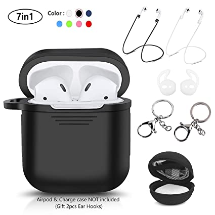 LKDEPO 7 in 1 Airpods Case Accessories Set Compatible with Apple AirPods 2  & 1 [Front LED Not Visible] [Include Protective Silicone Case Cover/Ear