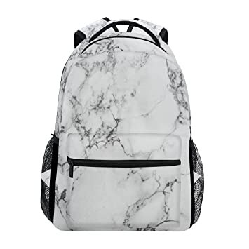 067624cac717 Amazon.com  ZOEO White Marble Girls Backpacks Stone Kids School Bookbags  Travel Daypack Bag Purse for 3th 4th 5th Grade  ZOEO