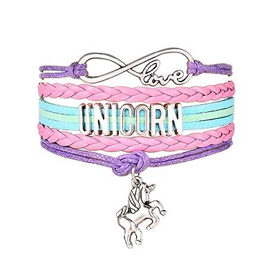 Amazon JunXin Cute Unicorn Bracelet Wristband Handmade Rainbow Jewelry Infinity Love Charm Gifts Birthday Gift Best Friends Purple