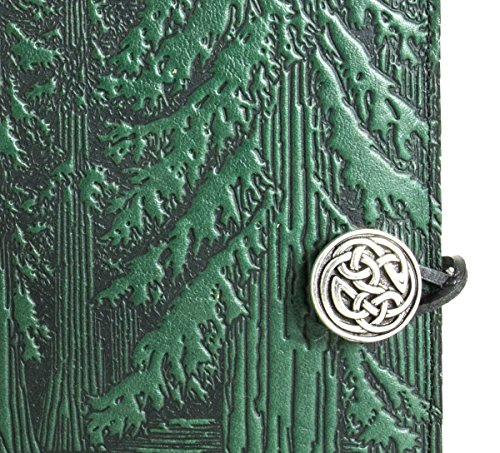 Genuine Leather Refillable Journal Cover + Hardbound Blank Insert - 6x9 Inches - Forest, Green With Pewter Button - Made in the USA by Oberon Design by Oberon Design (Image #3)