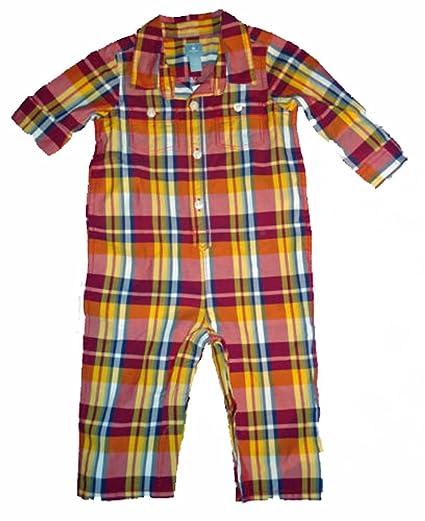 cebbeb1b4 Amazon.com  Baby Gap Boys Red Navy Yellow Plaid Woven Shirt Romper 0 ...