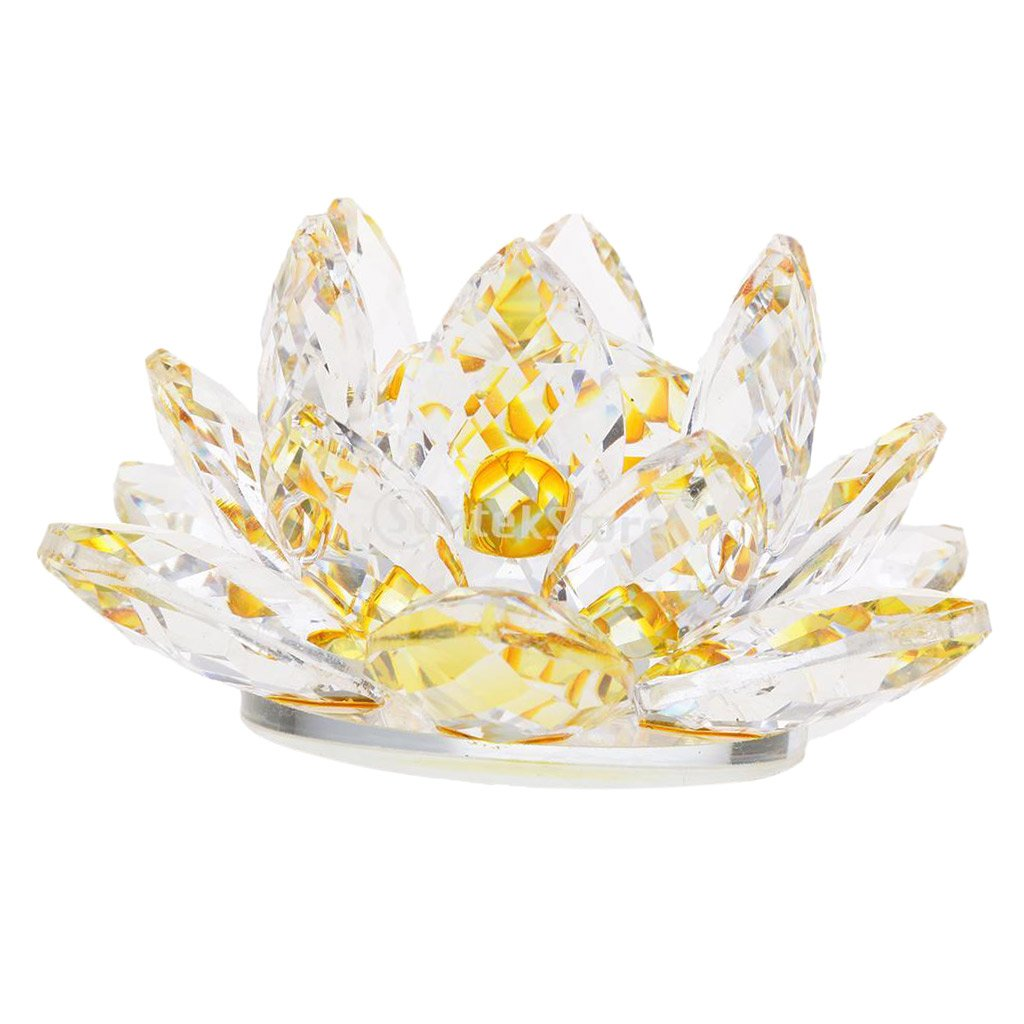 Baoblaze Crystal Lotus Flower Buddhist Ornaments Feng Shui Art Glass