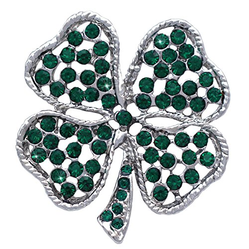 cocojewelry St. Patrick's Day Gift Heart Shape Leaf Clover Irish Shamrock Brooch Pin (4 Leaf)
