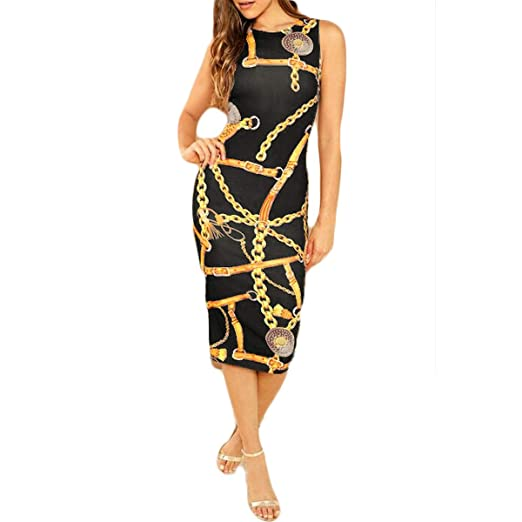 2e3ba70d63 itifu Women Sleeveless Crewneck Slim Fit Chain Print Summer Party Bodycon  Midi Dress (Black