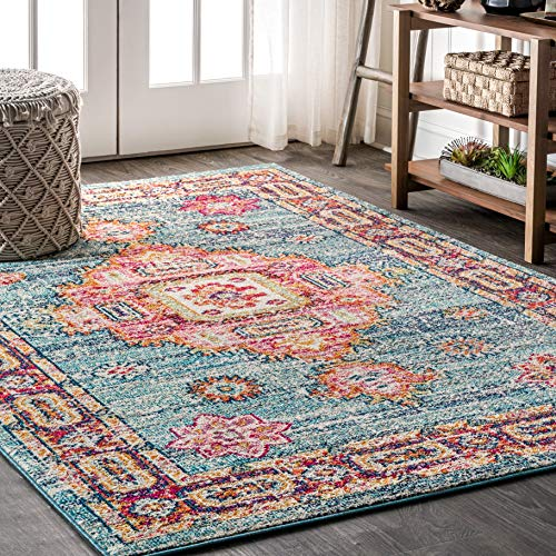 JONATHAN Y BMF100 Bohemian Flair Boho Vintage Medallion Blue/Red 8 ft. x 10 ft. Area Rug