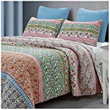 Baxi Reversible Quilt Set, Boho Chic Floral Pattern, 3-Piece Set with Quilt and Pillow Shams - Full/Queen, Baxi