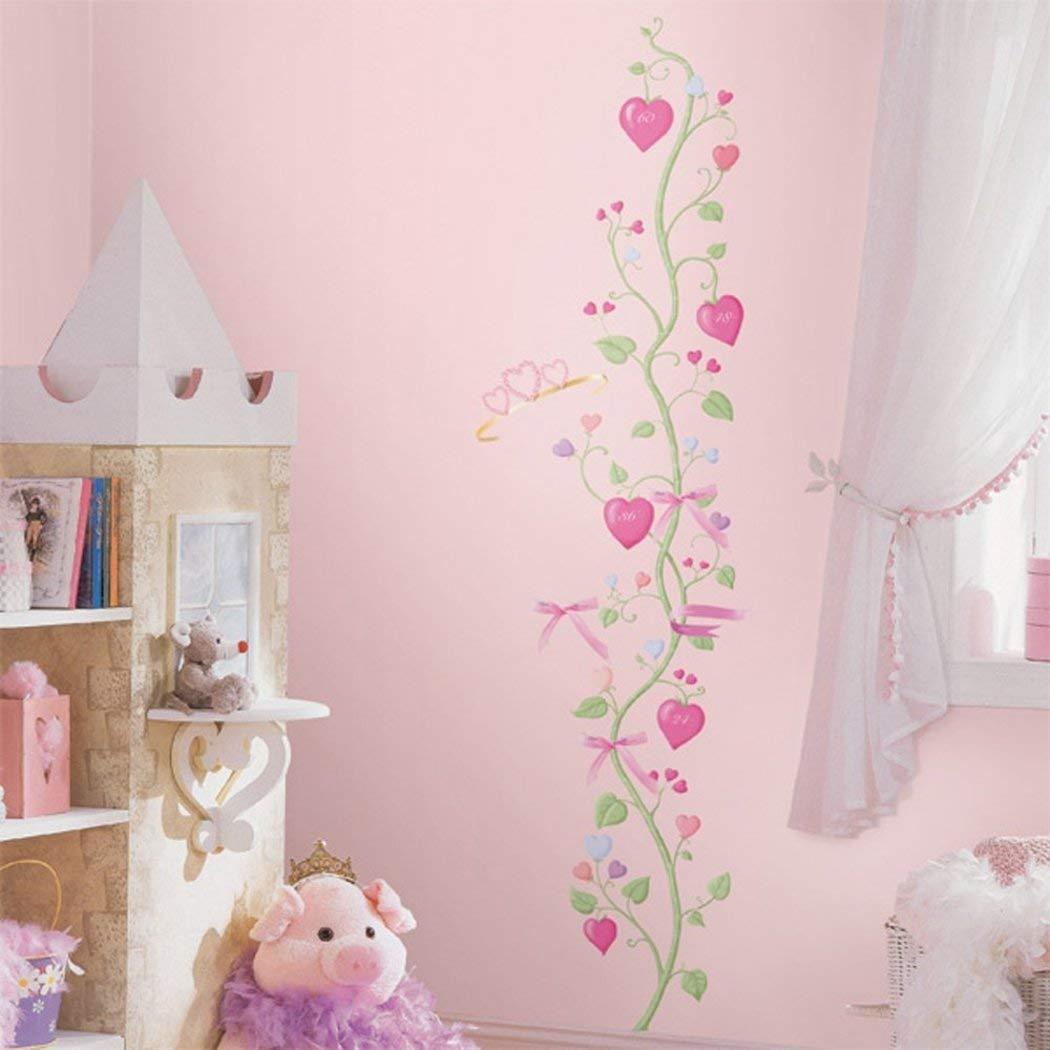 15 Pieceキッズ用ガールズピンクグリーンパープルFairy Princess成長チャート壁デカールセット、ガーデンテーマ壁ステッカーPeelスティック、楽しい美しいハートVineリボン装飾壁画アート、ビニール   B079YZQ4JK