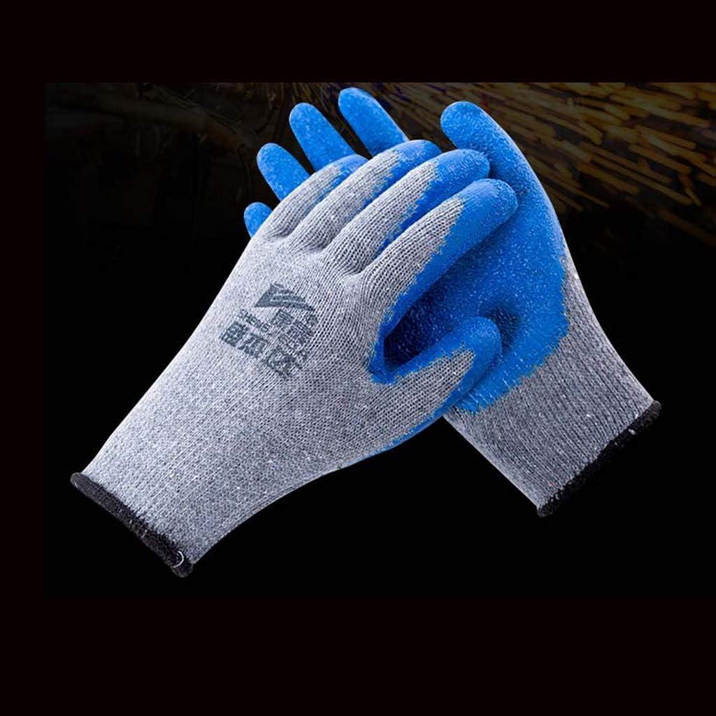 SGLI Guantes antirrugas de Hilo Gris sumergidos Antideslizantes Impermeables al Trabajo Guantes de algodón Azules 手套: Amazon.es: Hogar
