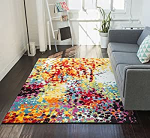 Impasto multi geometric red yellow blue modern for Dining room rugs 7 x 10