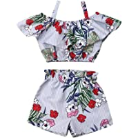 2PCS Baby Girls Floral Summer Outfits Spaghetti Strap Ruffle Crop Top And Short