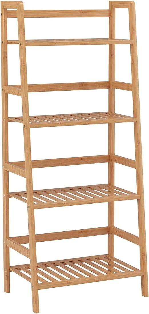 Estante de la escalera de bambú - Estantería de almacenamiento de 4 niveles de estantería Estantería de almacenamiento para sala de estar Jardín Jardín 115x48x32 cm: Amazon.es: Hogar