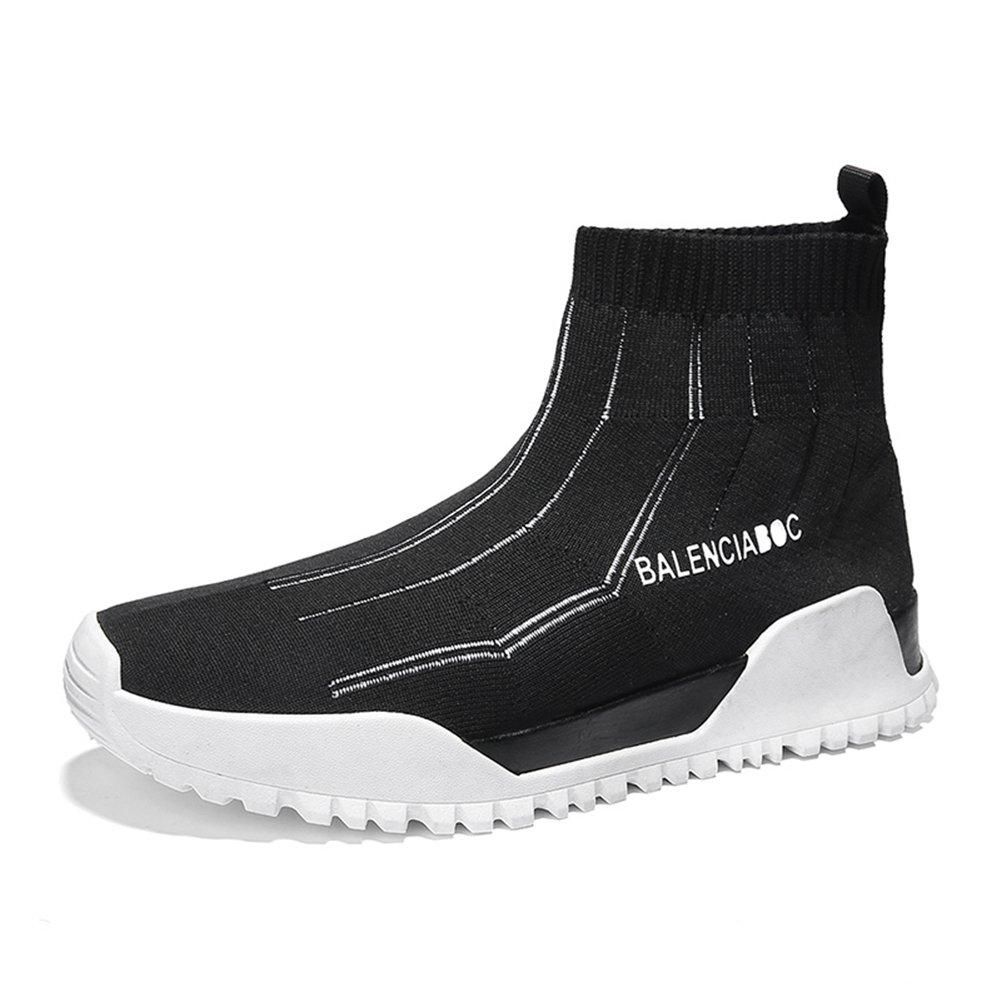 HUAN Zapatos de Hombre Spring Knit Nuevos Zapatos Casuales Zapatos de Hombre Zapatos de Tacón Alto Zapatos Coreanos de Moda Calcetines Zapatos Stripe Black 40 EU|B B