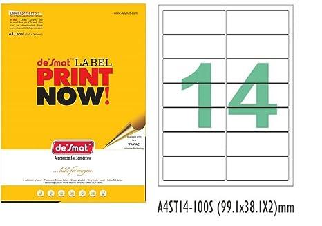 Desmat A4 Size Paper Labels For Laser, Inkjet  amp; Copiers  14 Label Sheet  Pack Of 50 Sheets  Labels   Stickers