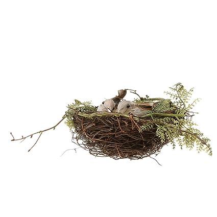 Künstliche Vögel 2pcs Weiße Vogeleier Haus Garten Baum Deko Vogel Nest