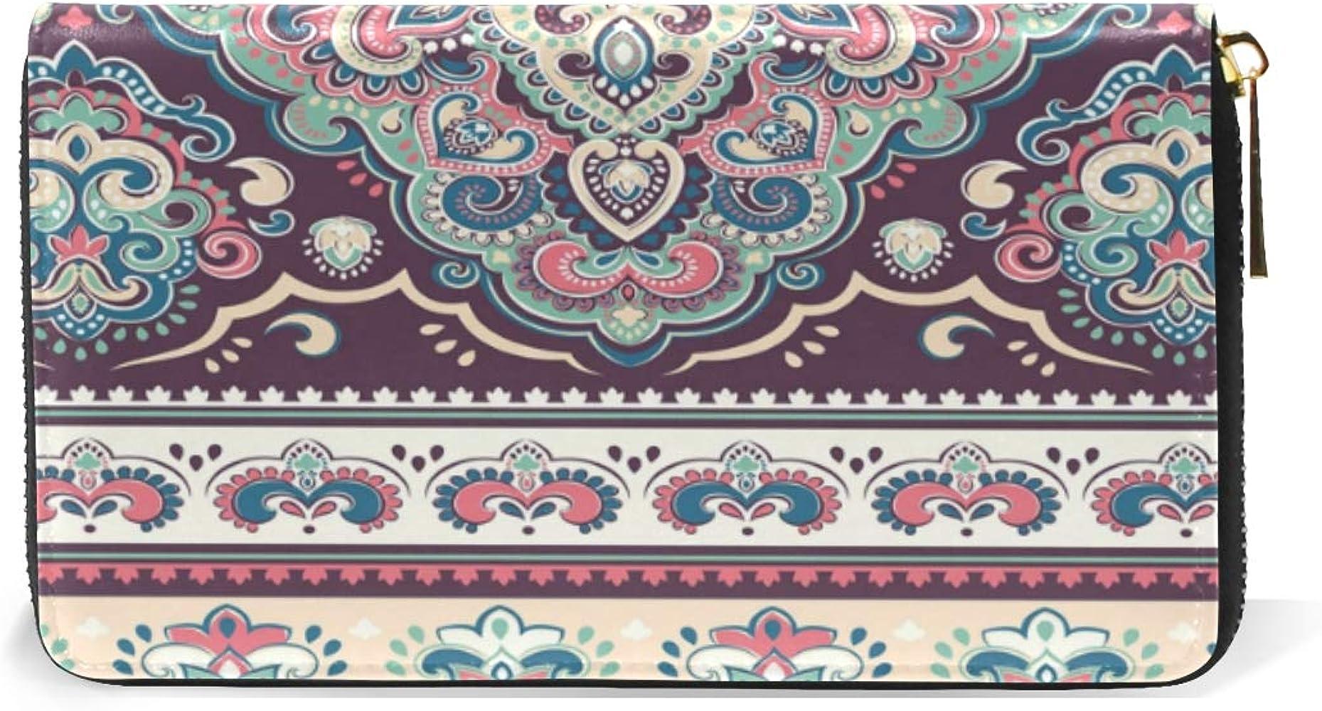 XiangHeFu Mujer Cartera Monedero Estilo indio Floral Paisley ...