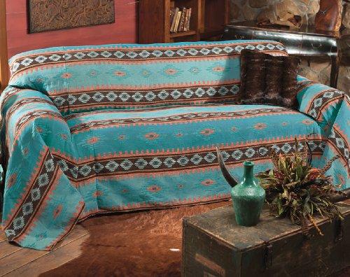 Black Forest Decor Skystone Turquoise Southwestern Sofa Cover - Rustic Furniture