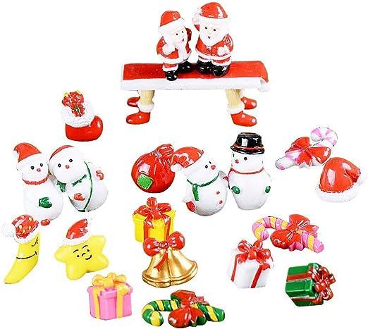 Adornos Jardín Miniatura Navidad, 21 Pcs Mini Figuras Jardín de ...