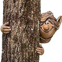 Garden Mile JARDÍN ELF árbol CACA NOVEDAD ADORNO DE JARDÍN DECORACIÓN NOVEDAD DIVERTIDO FACIAL VALLA CASETA EXTERIOR árbol ESCULTURA