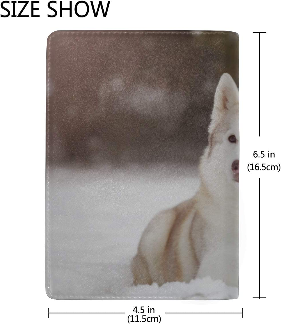 Cute Dogs On The Snow In Winter Forest Blocking Print Passport Holder Cover Case Travel Luggage Passport Wallet Card Holder Made With Leather For Men Women Kids Family