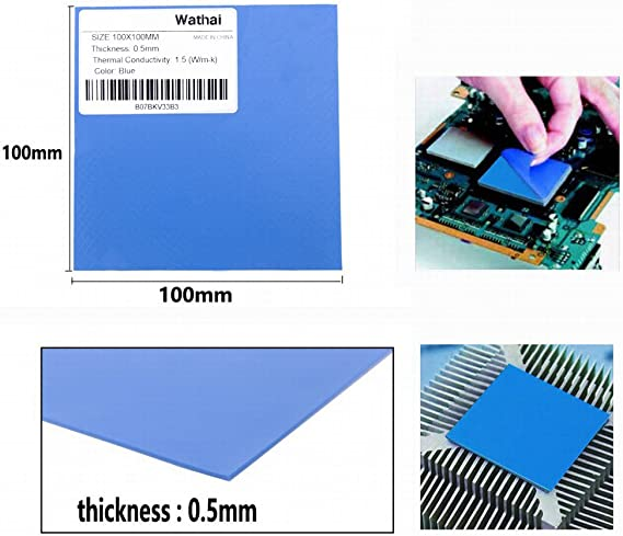 Queen.Y Soft Silicone Thermal Conductive Pads CPU Chip Heatsink Cooling for CPU 100mm x 100mm x 3mm