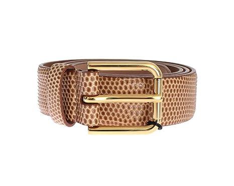 Dolce   Gabbana – Marron effet peau de serpent Doré Boucle Logo Ceinture 7b1238172c2